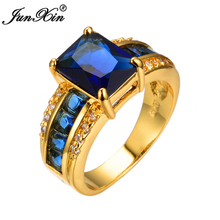 JUNXIN Men Blue Zircon Finger Rings 10KT Yellow Gold Filled AAA Zircon Crystal Rings Male Fashion Jewelry High Quality