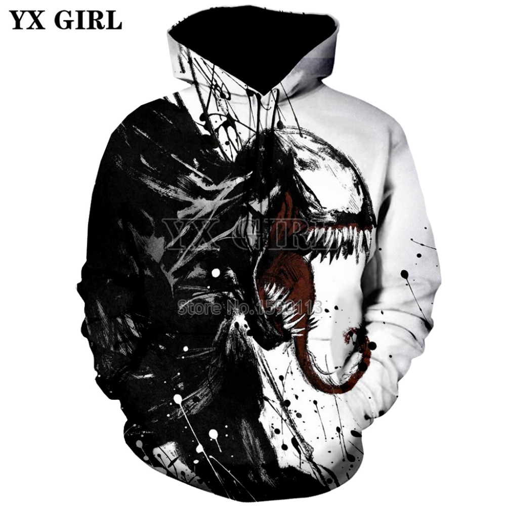 Fashion Women//Men/'s Movie Venom 3D Print Hoodies Sweatshirt Pullover Tops