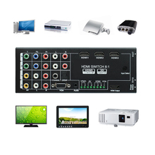 8:1 HDMI Switcher Splitter YPbPR/Component Video AV VGA 3.5mm Audio Interface with IR for XBOX PS3 PC Computer Monitor Router