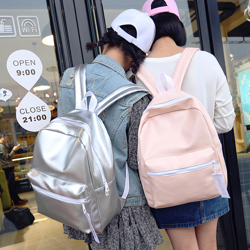 Brand Preppy Style Rucksacks For Girls Leather School Backpack Bag For College Men Casual Eastpacks mochila Silver Pink Backpack<br>
