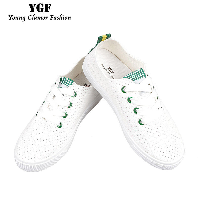 YGF New Fashion Women Shoes Casual White Flat Shoe Leather Lace Up Tenis Feminino Summer Breathable Casual Shoes Ladies Sapato(China)