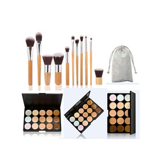 New Arrival 15 Colors Face Cream Concealer Palette+11pcs Bamboo Brush Set Makeup Tools Kit