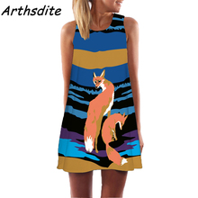 Buy Arthsdite 2017 Fashion Summer Plus Size Women Clothing Fox Animal Print Pattern Casual Dresses Boho Beach Dress Vestidos WC0472 for $7.99 in AliExpress store