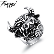 TENGYI Gothic EU Punk Style Male Rings Hot Trendy Stainless Steel Cow Man Biker Rings Christmas Gifts Free Dropshipping TY580
