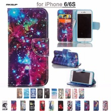 Colorful Painting Book Style Wallet PU Leather Flip Case for Apple iPhone 6 6S 4.7Inch Cover Bag Cell Phone Cases Stand Function