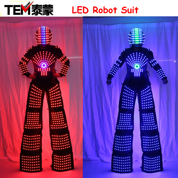 LED Robot Suits Luminous Robot Costume David Guetta LED Robot Suit illuminated kryoman Robot led stilts clothes