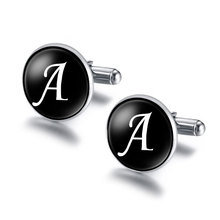 NingXiang 2017 New Arrival Glass Cabochon Letters Cufflinks For Men Unique Classic Black Mens Copper Cool Cuff links A-M Jewelry(China)