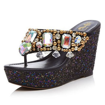 2017 Summer Womens Sheepskin colorful Rhinestone sexy slippers High heels Flat Platform Wedges casual Sandals for women<br><br>Aliexpress
