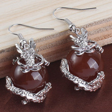 100-Unique 1 Pair Silver Plated Red Quartz Round Beads Inlay Chinese Dragon Drop Earrings Charm Jewelry Women's Earring