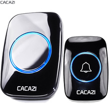 CACAZI New Waterproof Wireless Doorbell 300M Remote CALL EU AU UK US Plug smart Door Bell Chime 220V 1 battery button 1 receiver(China)
