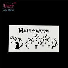 Halloween Scary Cemetery Grave Stencil Pad Plastic Spray Flower Cake Mold Wall Painting Cupcake Baking Strew Tool Moulds FQ4126(China)