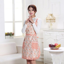 Hot Sale Women Home Kitchen Apron Printed Flower Polka Dot Waterproof Cooking Polyester Apron Pocket Household Decor Supplies