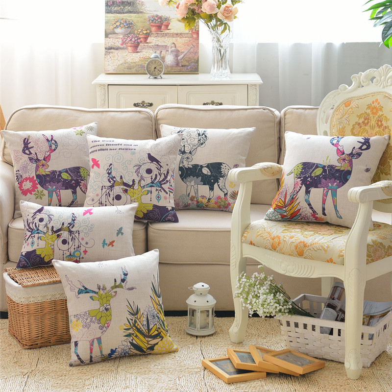 beautiful bright office. wholesale wedding gift nordic beautiful bright flower pattern elk decorative cushion cover home office sofa decor