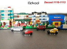 Bekool 1110-1113 Mini City MODULAR BRICKTOBER Hotel Train Station BAKERY 'R' Us Store Set Compatible 40141-40144 block Kids toy