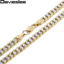 Davieslee Womens Mens Necklace Silver Yellow Gold Filled Chain Hammered Cut Round Curb Link Vintage Wholesale Jewelry 6mm LGN275