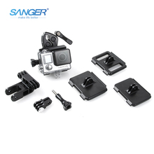 SANGER for Gopro Accessories Sport Mount Hung Gun Rod Bow Universal Clamp for Xiaomi Yi Go Pro Hero 5 4 3+ 3 Sjcam Action Camera