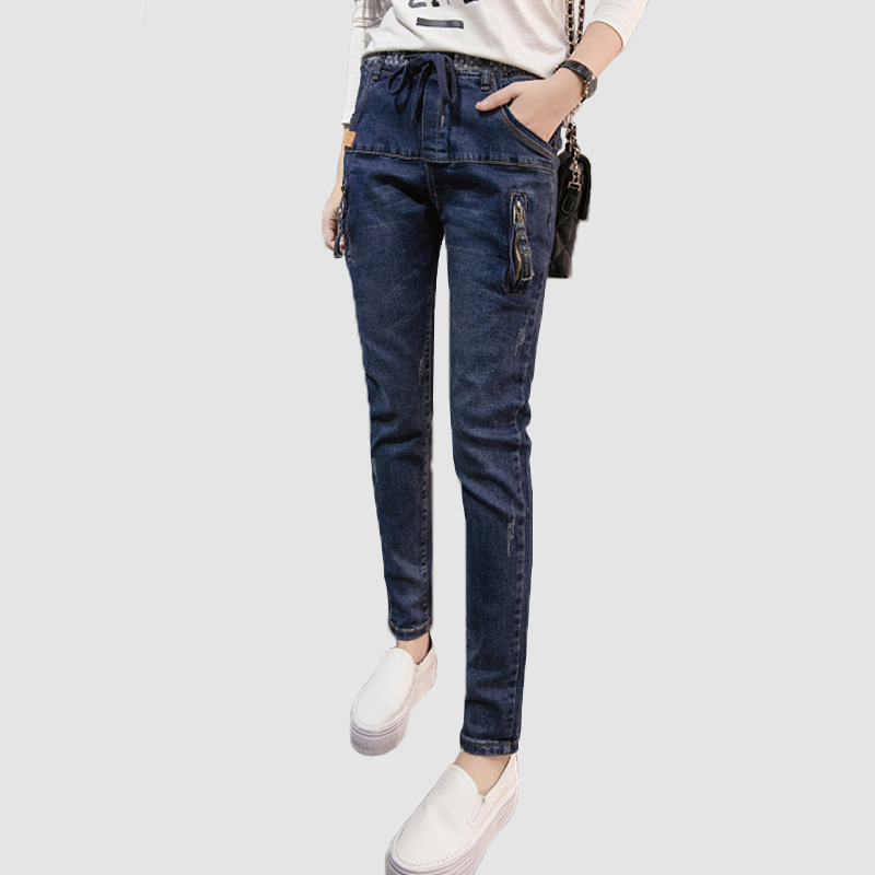 2017 Sexy Jeans Women Casual Elastic Waist Slim Denim Long Zipper Pencil Pants Plus Size 26-32 Woman Jeans Lady Printed TrousersОдежда и ак�е��уары<br><br><br>Aliexpress