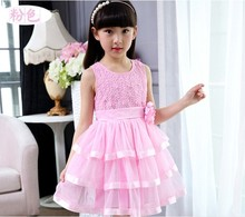 Promotion! New Winter Dresses Children Clothing Princess Dress Pink Long Sleeve Bow Design Girls Clothes