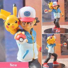 Anime Ash Ketchum Pikachu Ver PVC Action Figure Collectible Model doll toy 13.5cm(China)