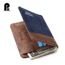 2017 designer luxury brand Canvas men wallets Solid leather fashion two color YATEER wallet male ultra thin high quality purses(China)