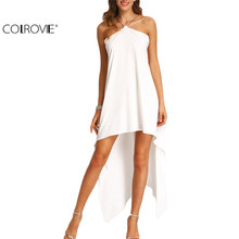 COLROVIE 2016 Beach Wear Female Summer Style White Chain Halter Neck Sleeveless Asymmectrical High Low Loose Dress