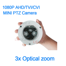 New 1080P 4-IN-1 AHD TVI CVI CVBS mini ptz 2Mp motorized lens 3x Optical zoom SONY 323 dome CCTV camera support coaxial control(China)