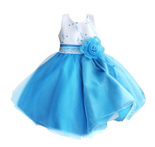 Nicoevaropa New Fashion Style Girls Dresses Flower Band Gauze Hem Children Party Wedding Birthday Ball Gown Kids Clothes(China)