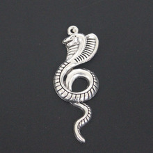 New Arrive 20pcs Antique Silver Cobra Charm Pendant For DIY Necklace Jewelry Accessories Making Handmade