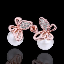 2017 Boucle D'oreille Pearls Earring Bijoux Butterfly Stud Earrings For Women Jewelry Earings Brincos Earing oorbellen(China)