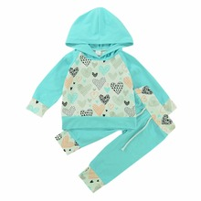 Cute Baby Girl Fashion 2Pcs Cartoon Yellow Heart Print Tops Hooded Sweater + Green Pants Set Cotton 70-100CM Spring Autumn(China)