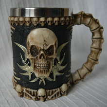 Halloween 3D Multi Skull Mug Stainless Steel Drinking Crypt Tankard Coffee Tea Bottle Mug Skull Knight Drinking Mug