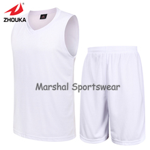 Men's Set sports shirt training Sleeveless basketball jersey blank jersey suit Wear accept small quantity