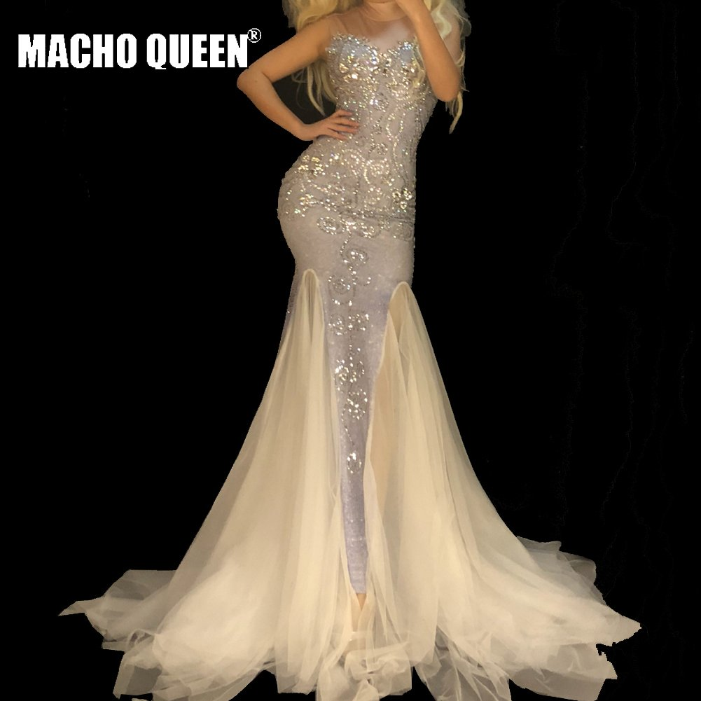 Sexy Drag Queen Costumes  See Through Mesh Rhinestone Event Party Prom Long Dresses Celebrity Red Carpet Runway Stage