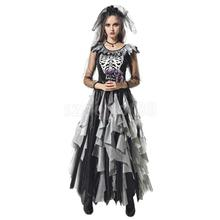 Lady Zombie Ghost Bride Costume Day Of The Dead Halloween Party Fancy Dress(China)