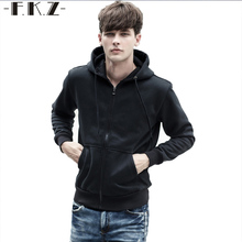 FKZ Men's Fashion Black/Navy Blue/Grey Long Sleeve Hip Hop Hoodie With a Hood Cardigan Lovers Sweatshirt Sportive Uomo GNHW005