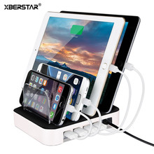 For iPhone 7 6 6S Plus 5 Samsung LG 24W Charging Station 4 Ports 2.4A Multi Function Dock Stand Holder Universal USB Charger(China)