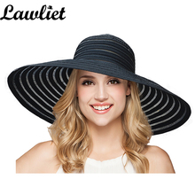 New Fashion Women Sun Hat Polyester Large Wide Brim Ventilation Summer Casual Fashion Beach Hats Elegant Ladies Floppy Hats A349(China)