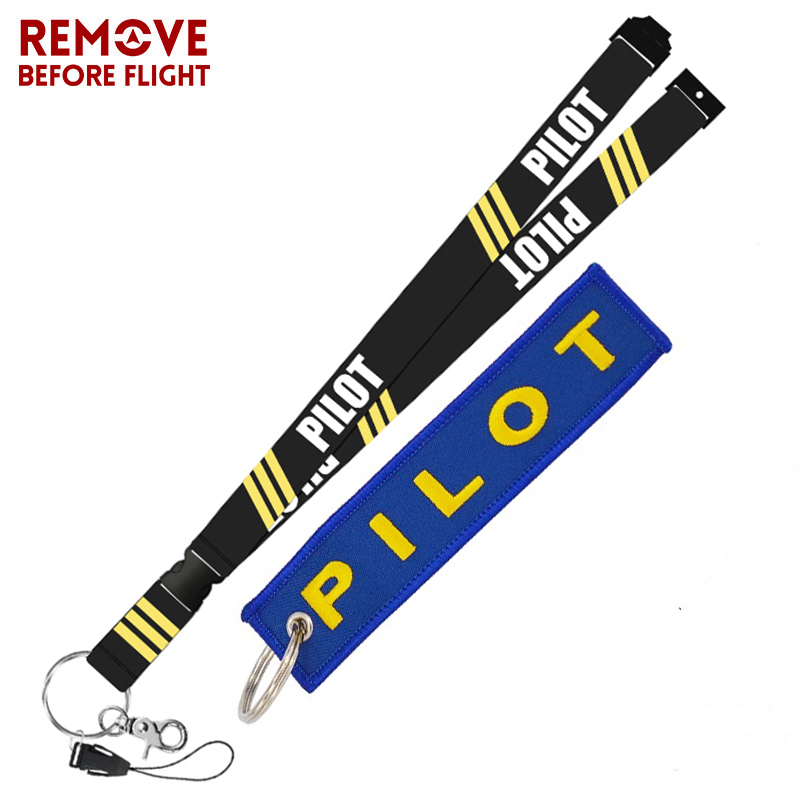 Remove Before Flight Fashion Jewelry Mixed Key Chain Safety Tag Embroidery Pilot Lanyard  for Key Ring Chain Aviation Gifts (4)