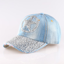 Summer style 2015  New arrive Fashion five star Point drill cowboy  women baseball cap men Hat rhinestone print Diamond Point