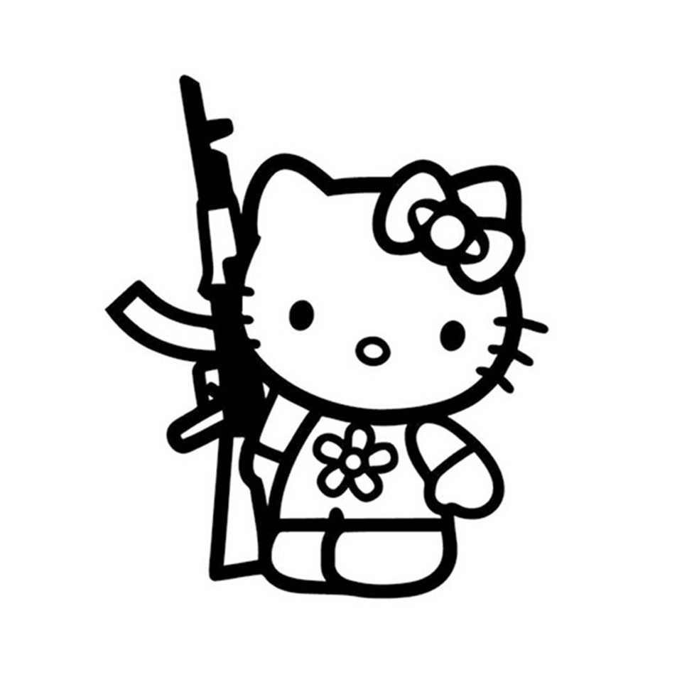 Cunymagos Funny Hello Kitty Rifle Vinyl Sticker Decal Personality Funny Car Styling Fashion Accessories Wall Decorative Stickers 13 (3)
