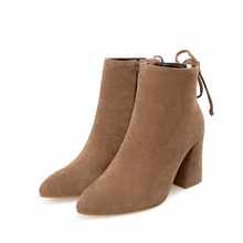 High Heels women Ankle boots Spikes Ankle Boots suede Women Booties zip Lady Shoes Woman short Boots