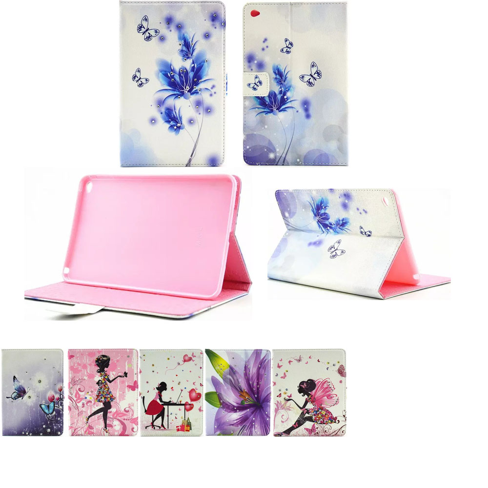 For iPad mini 4 7.9case, High quality Fashion Diamond girl butterfly painting to flip the pu leather cover case For ipad MINI 4<br><br>Aliexpress