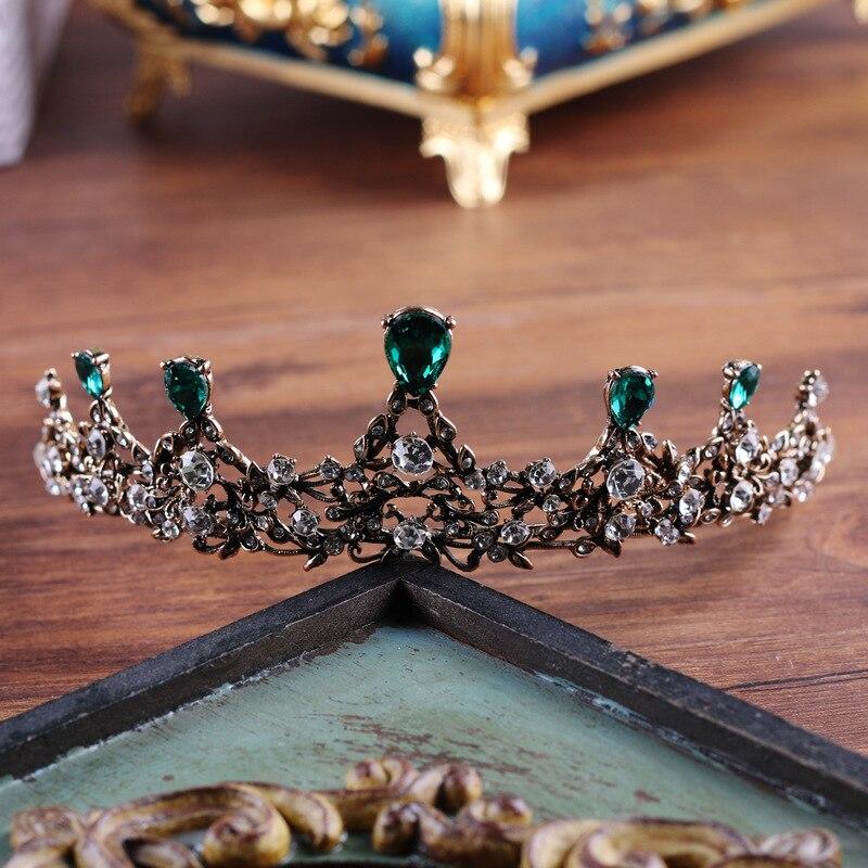 copper green crystal elegant bridal crown coroa de noiva boutique brides headwear wedding hair jewelry 2