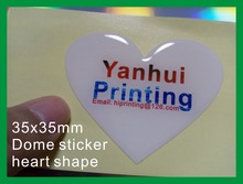 35mm heart shape epoxy dome sticker printing custom