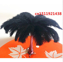 Free shipping wholesale 100pcs natural black ostrich feathers 15-20cm/6-8inch Decorative diy Clothing accessories wedding(China)