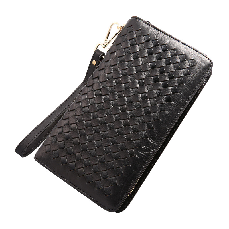 Fashion Brand Mens Clutch Bags Genuine Leather Men Wallets Knitting Double Zipper Long Men Clutch Phone Pruses Card Holder<br>
