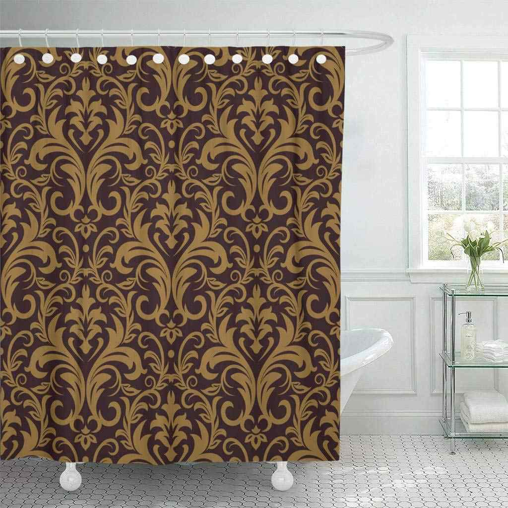 Shower Curtains Bathroom Curtain Brown Abstract Damask