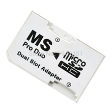 20pcs/lot Micro SD SDHC TF to Memory Stick MS Pro Duo Adapter Dual slot adapter Converter Card Reader for PSP1000 2000 3000