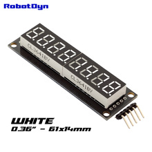 "8-Digit LED 0.36"" Display Tube (decimal), 7-segments WHITE color, 74HC595, disp. size 61x14mm(China)"