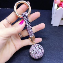 10pcs Car key chain pendant key ring flash drill lady bag buckle creative gift Korea studded with diamond ball